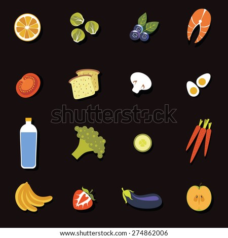 A set of flat icons with shadow fruits and vegetables on a black background