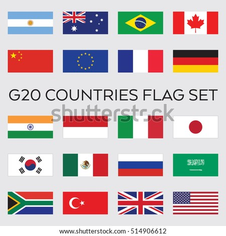 A set of flat vector flags for the entire group of G20 nations. These countries make up the top economies in the world.