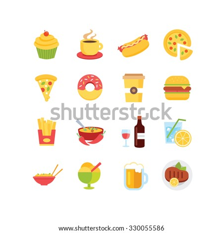 A set of food related icons, eps 10, no transparency