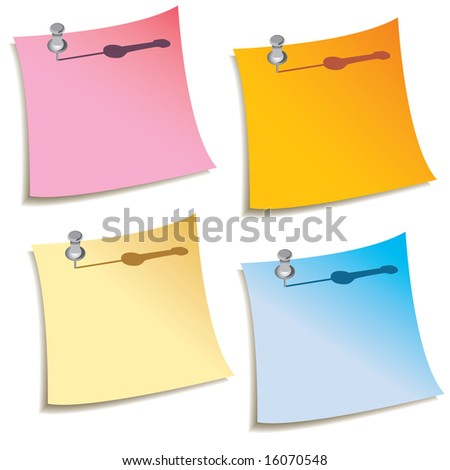 A set of four blank notes with push pins in them - stock vector