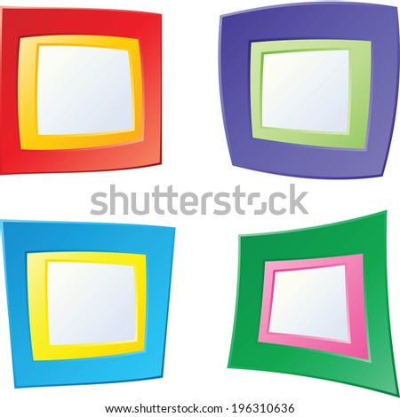 A set of four, bright cartoon frames.