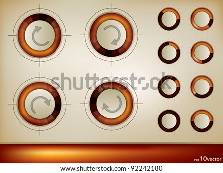 A set of four button icons with rotational arrows in four positions for forward, backwards , refresh, undo in a keyboard or frame, illustration - stock vector