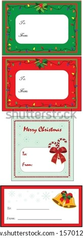 A set of four Christmas gift tags, vector format.