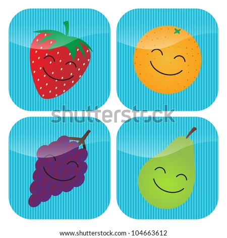 A set of four icons with cartoon smiling fruit - strawberry, orange, grapes and pear. - stock vector