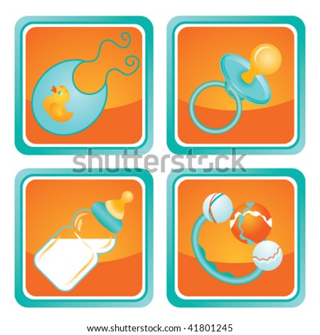 A set of four modern Web 2.0 icons with baby accessories: pacifier, bottle with milk, rattle and bib. - stock vector