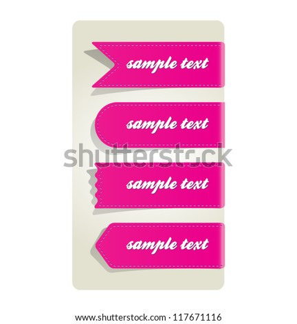 A set of four pink ribbons labels with shadow - stock vector