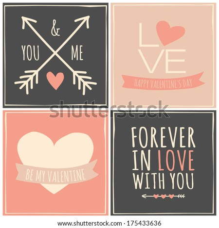 A set of four retro greeting cards for Valentine's Day. - stock vector