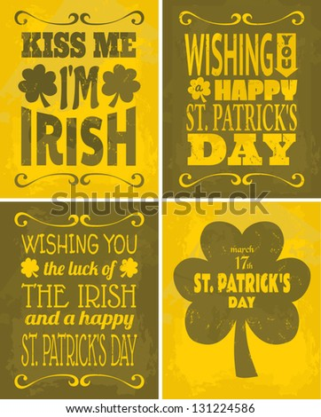 A set of four retro St. Patrick's Day cards. - stock vector