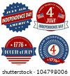 A set of four sticker designs for Independence Day. - stock photo