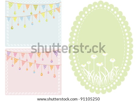 A set of 3 frames in pastel colors - stock vector