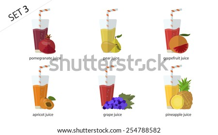 A set of fresh isolated fruit  juices: the blue juice grapes, grapefruit juice, pear juice, apricot juice, pineapple juice, pomegranate juice. 6 cups of juice. - stock vector