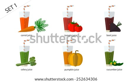 A set of fresh isolated vegetable juices: carrot juice, cucumber juice, tomato juice, pumpkin, beet, celery juice. 6 cups of juice. - stock vector