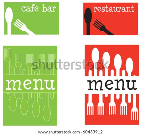 A set of fun restaurant menu covers and business cards - stock vector