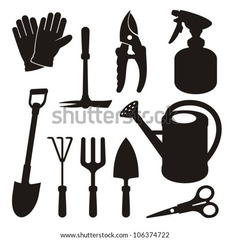 A set of gardening tool silhouette icons isolated on white background. - stock vector