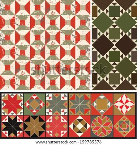 A set of geometric designs - stock vector