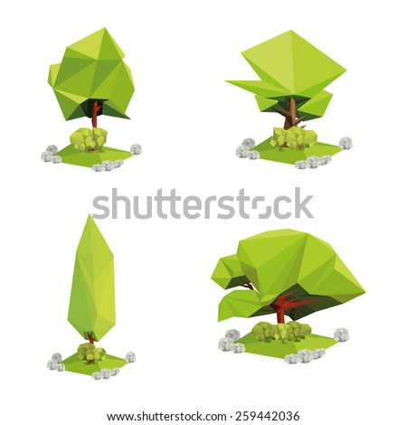 a set of geometric tree on a white background