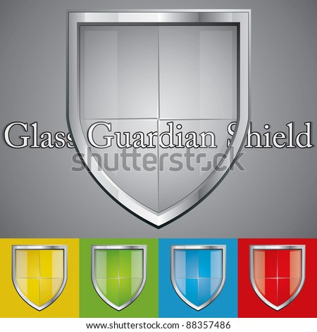 A set of glass metallic security shields - stock vector