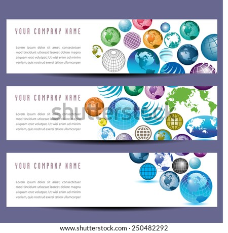 A set of globe banners  - stock vector