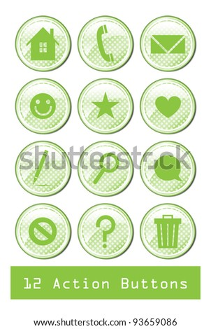 A set of 12 glossy action buttons. - stock vector