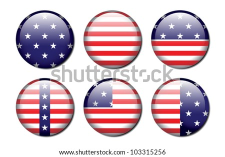 A set of 6 glossy american flag patterned buttons. Eps 10 Vector. - stock vector
