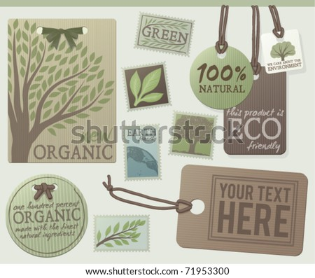A set of green themed labels and tags. Customize with your own text. EPS 10 - stock vector