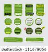 A set of green vector grungy paper stickers, labels, tags and banners with hand painted / cracked paint  worn out backgrounds - stock vector