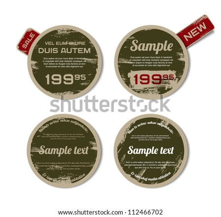 A set of green vector vintage military style badges with grunge weathered paint background and tags - stock vector