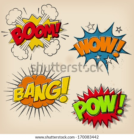 A set of 4 Grunge Comic Cartoon Sound Effects. A multilayer Super-Hi-Detail Vector  file is available as Download Option - stock vector