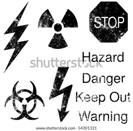 A set of grunge hazard and danger vectors - stock vector