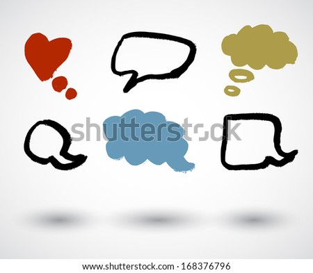 A set of grunge speech bubbles. - stock vector