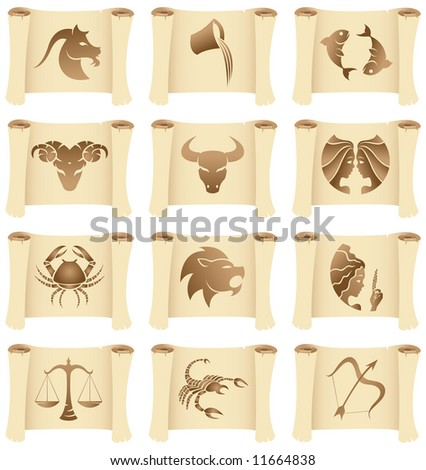 a set of grunge Zodiac Star Signs on manuscripts - stock vector