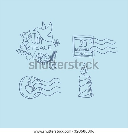 A set of hand-drawn elements Christmas - stock vector