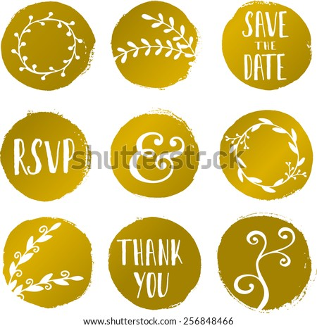 A set of 9 hand drawn golden circles with floral decorative elements isolated on white. - stock vector