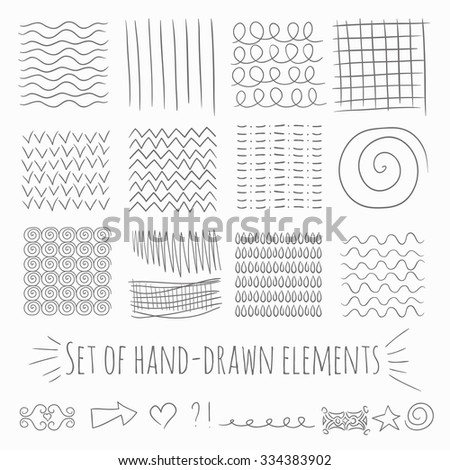 A set of hand-drawn graphics elements. Set of hand drawn patterns, background. Set of hand drawn textures. Abstract background. Vector design elements, lines, swirls, triangles, wave signs, arrow.