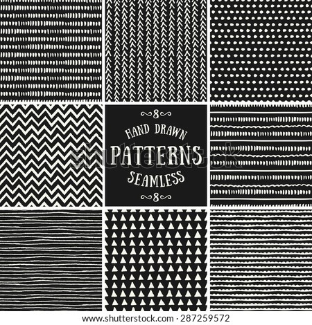 A set of hand drawn style abstract seamless patterns. Tiling repeat backgrounds collection in cream and black. - stock vector