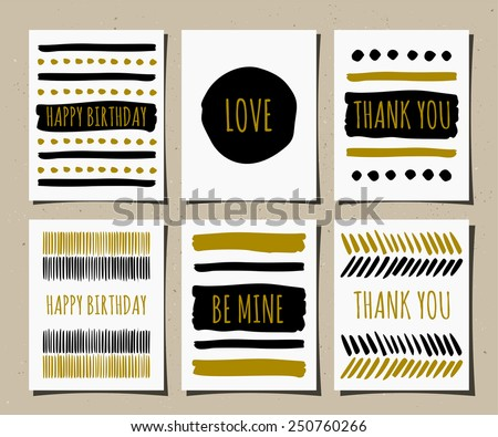 A set of hand drawn style greeting cards in black, golden and white. Birthday, Valentine's Day and Thank You card templates.