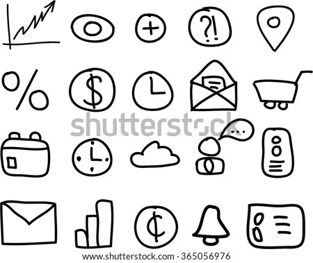 A set of handwritten icons