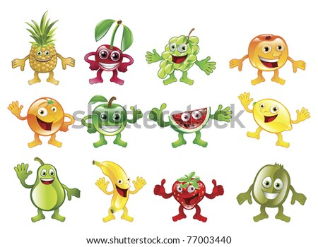A set of happy cute colourful fruit character mascots - stock vector