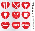 A set of heart themed love food and drink icons. - stock photo