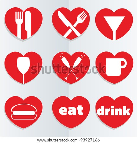 A set of heart themed love food and drink icons.