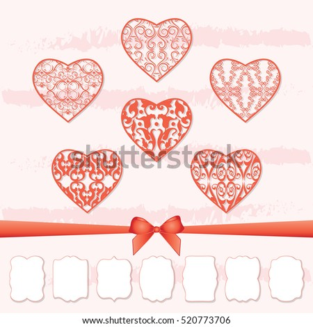 A set of hearts and a collection of frames of different shapes by cutting out paper. The decor for the holiday, Valentine's Day, weddings, celebrations. Vector illustration.