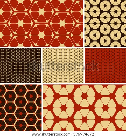 a set of 7 hexagon based, coordinated, seamless patterns, in an ivory, brown and red color palette.