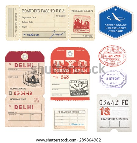 A set of high detail grunge Passport and Luggage Tags, Tickets and stamps. - stock vector