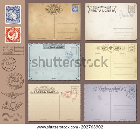 A set of high detail grunge Vintage Postcards and Stamps. Vector file is EPS v.10. Transparency effects are present. Vector file is organized with layers. - stock vector