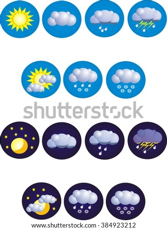 A set of 14 high quality vector weather icons.