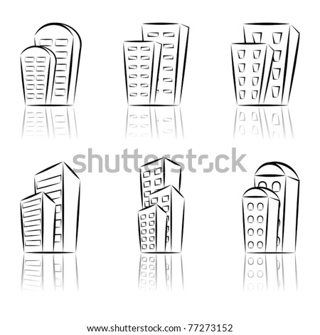 A set of houses logos.  Vector illustration. - stock vector