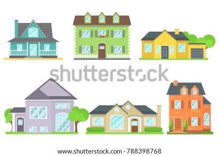Set houses different shapes colors designs stock vector for Different shapes of houses