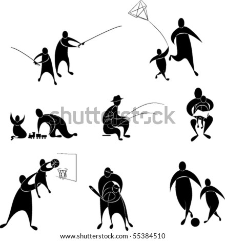 a set of icons, father and son play. Football, basketball, baseball, train, catch fish. All object are separate, easy to regroup