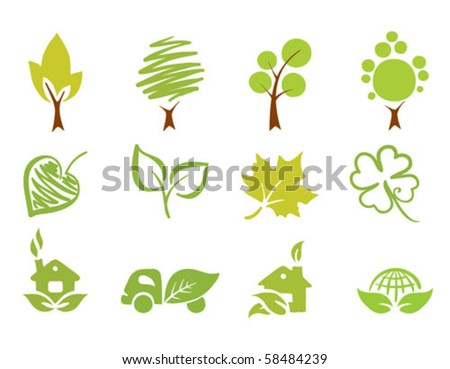 a set of icons - green team - stock vector