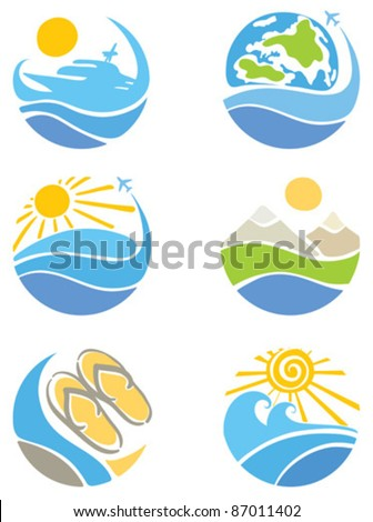 A set of icons - Travel, Tourism and Leisure - stock vector
